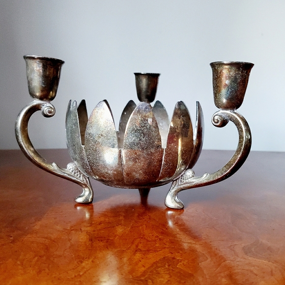 Vtg Silverplate Lotus Flower Bowl and Candlestick